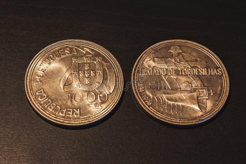 Moedas portuguesas velhas & x22; Escudos& x22; imagens de stock royalty free