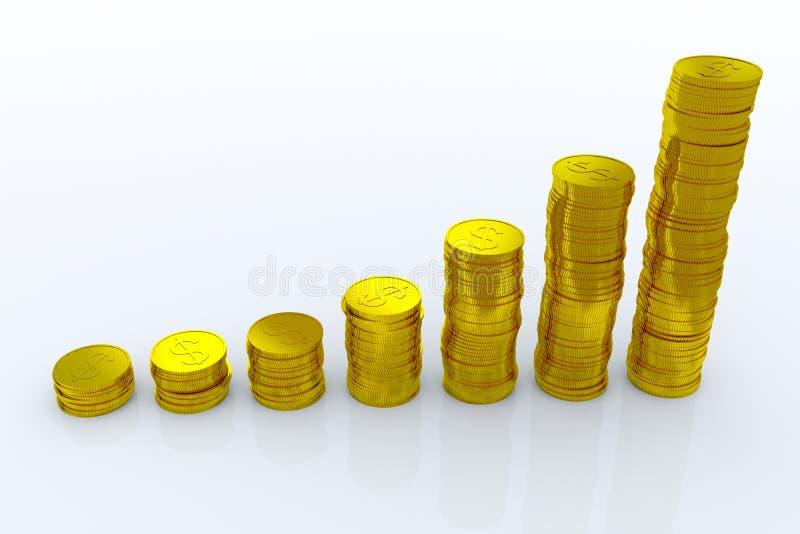 Moedas que mostram o lucro e o ganho ilustração do vetor