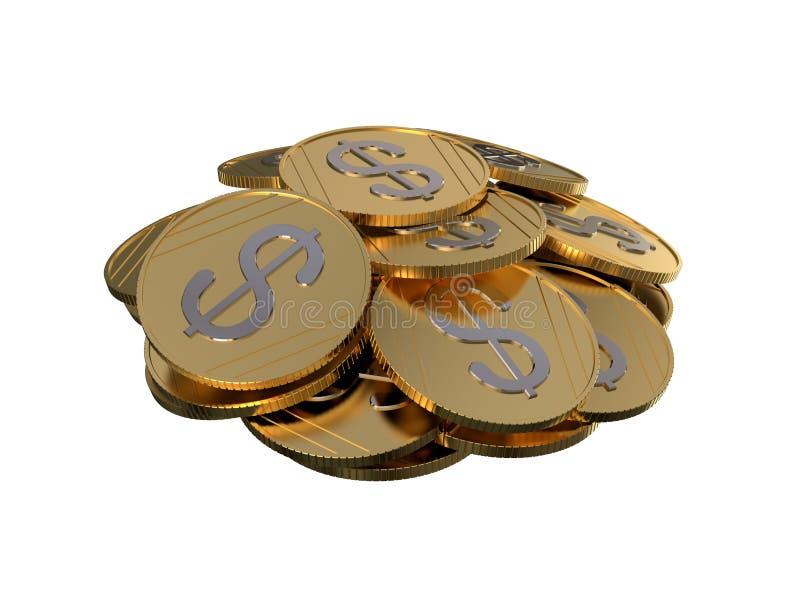 Moedas recolhidas na pilha Pilha das moedas rendição 3d ilustração stock