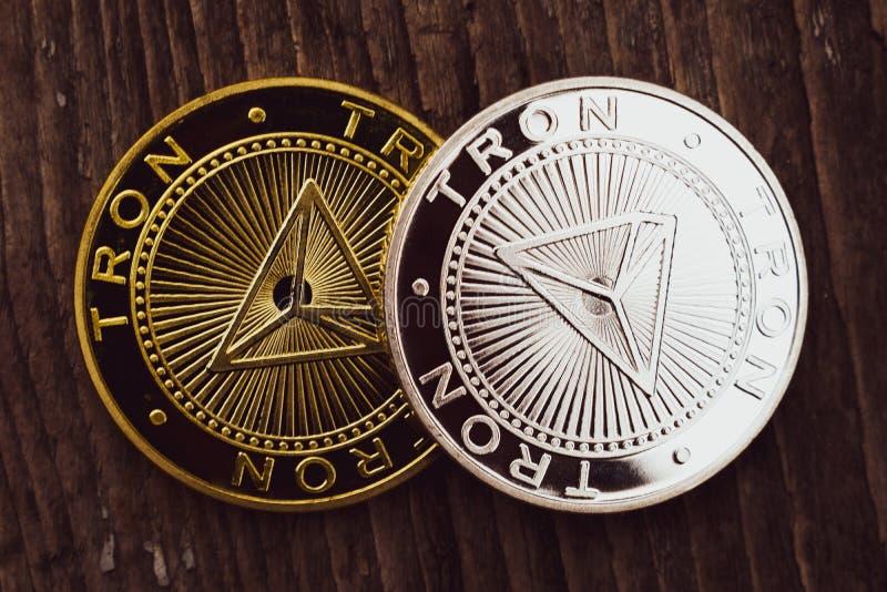 Moedas Tron TRX, dinheiro digital, cryptocurrency novo fotografia de stock