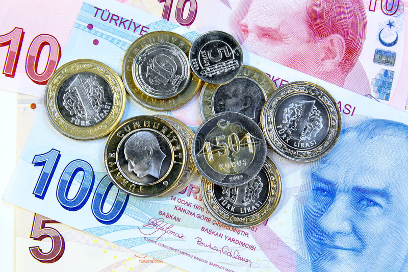 Moedas turcas fotos de stock royalty free