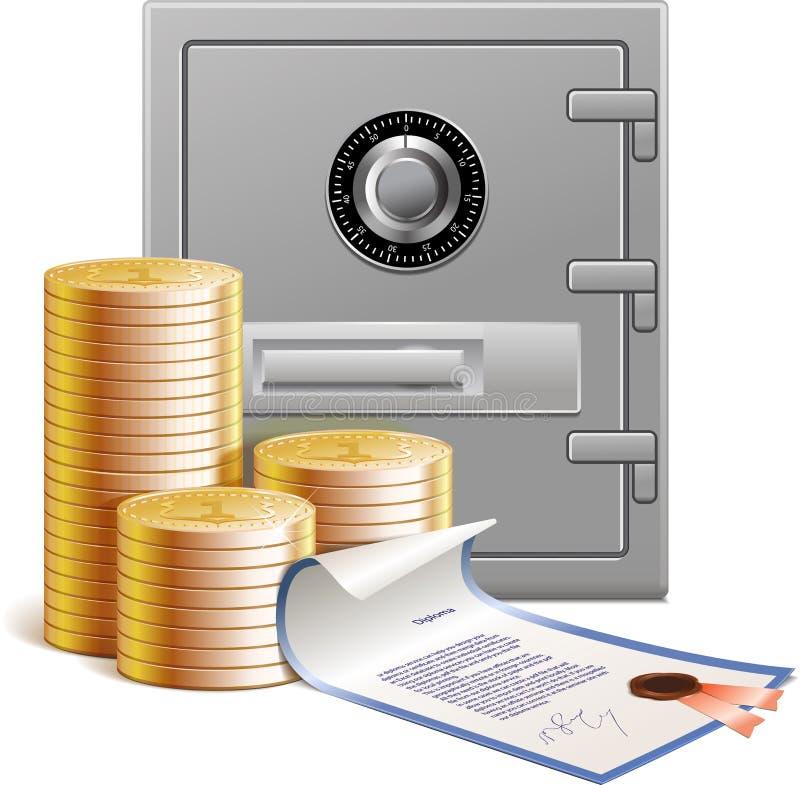 Moedas, vault de banco e seguranças financeiras ilustração royalty free