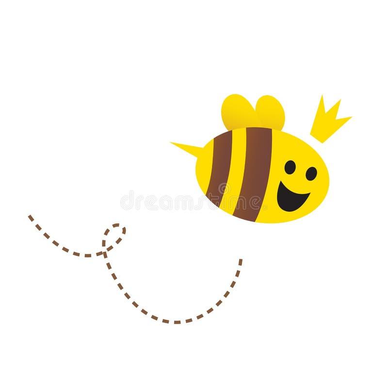 Moeder/Bijenkoningin die op witte achtergrond wordt geïsoleerdd vector illustratie