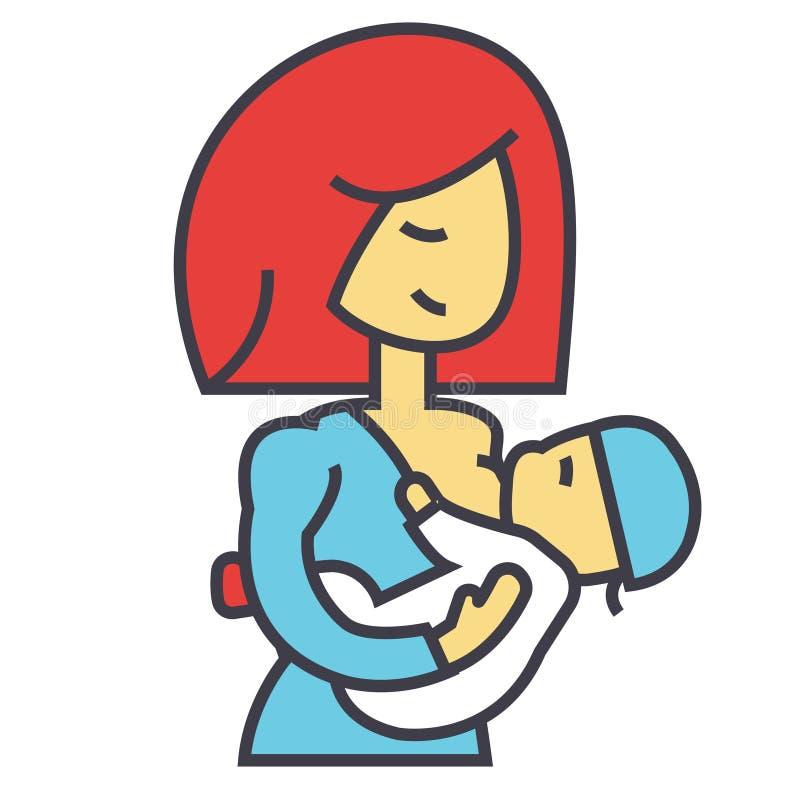Moeder de borst gevende baby, lactatie, het voeden kindconcept stock illustratie