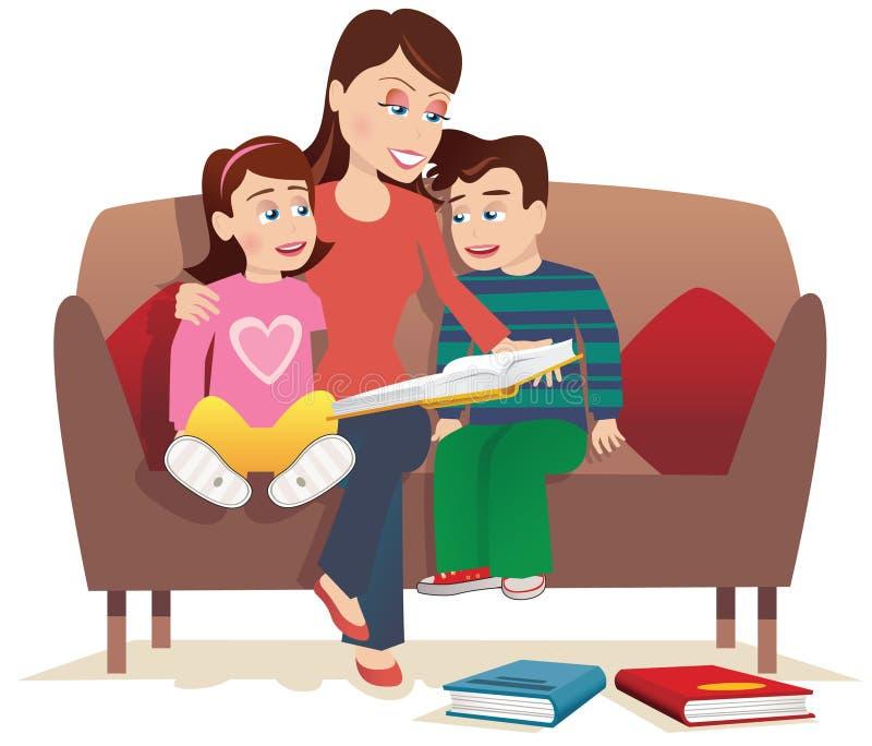 Moeder die aan jonge geitjes lezen stock illustratie