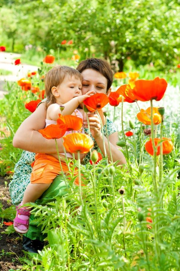 Moeder die bloemen toont aan dochter royalty-vrije stock afbeelding