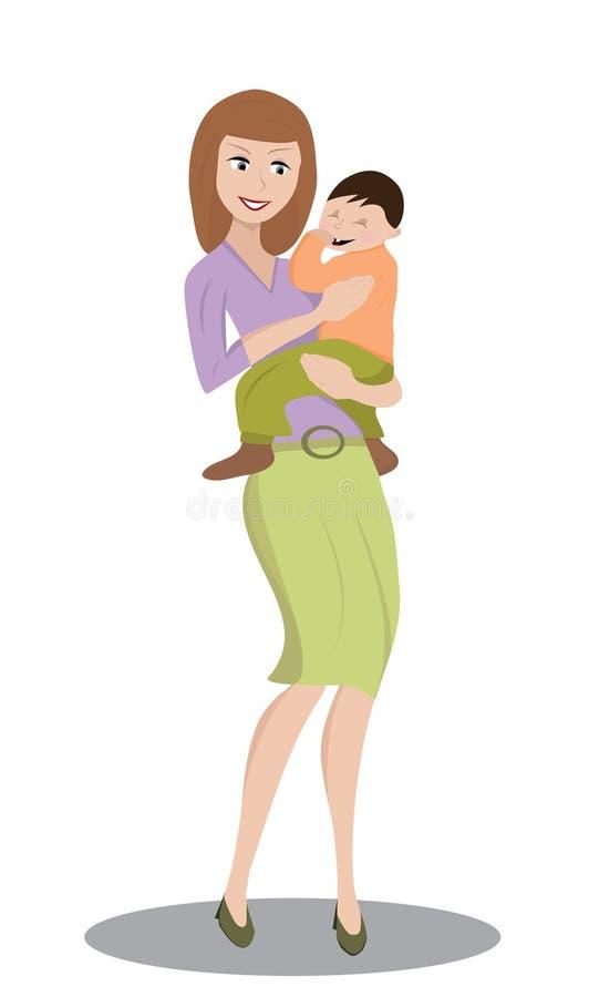 Moeder die een kind houden stock foto