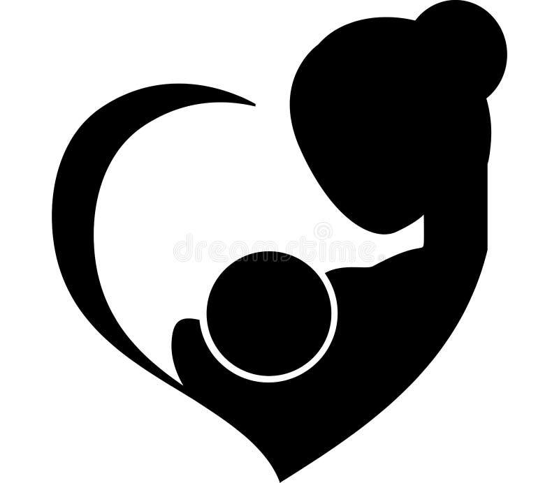 Moeder die haar babysymbool de borst geven stock illustratie