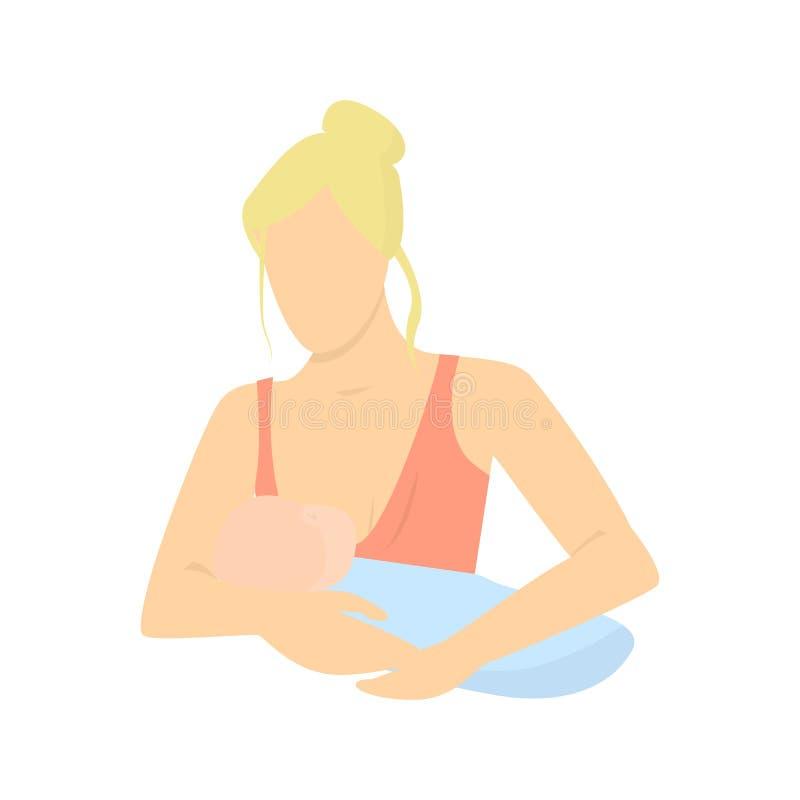 Moeder die haar holding van het babykind hem de borst geven in haar het geven handen Lactatie vectorillustratie vector illustratie