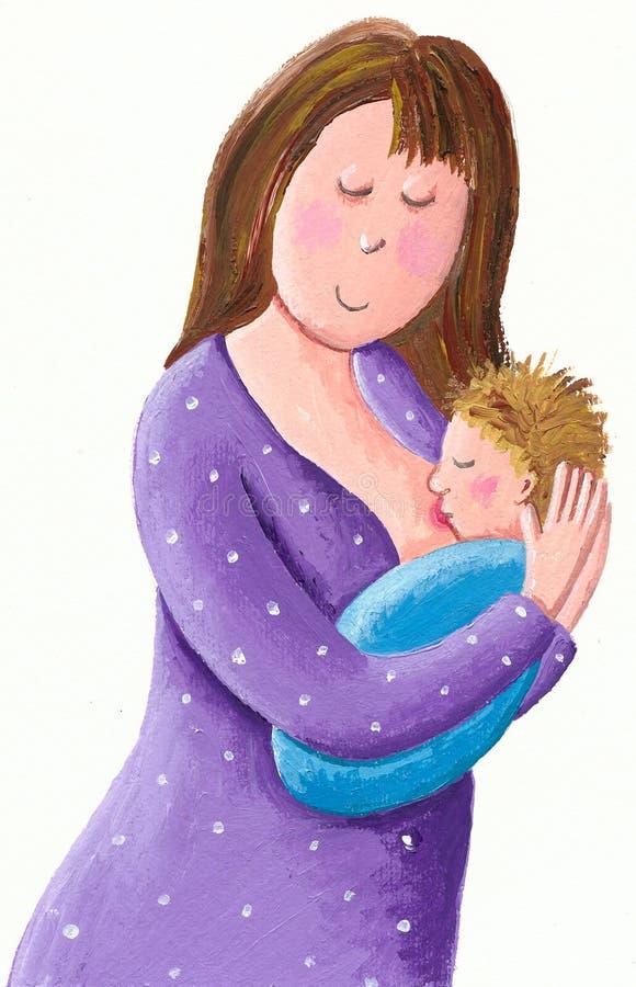 Moeder die haar nieuw de borst geven - geboren baby vector illustratie
