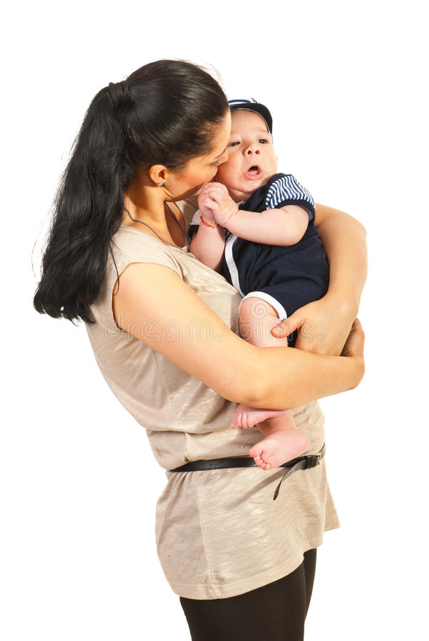 Moeder die met babyzoon spreken royalty-vrije stock foto