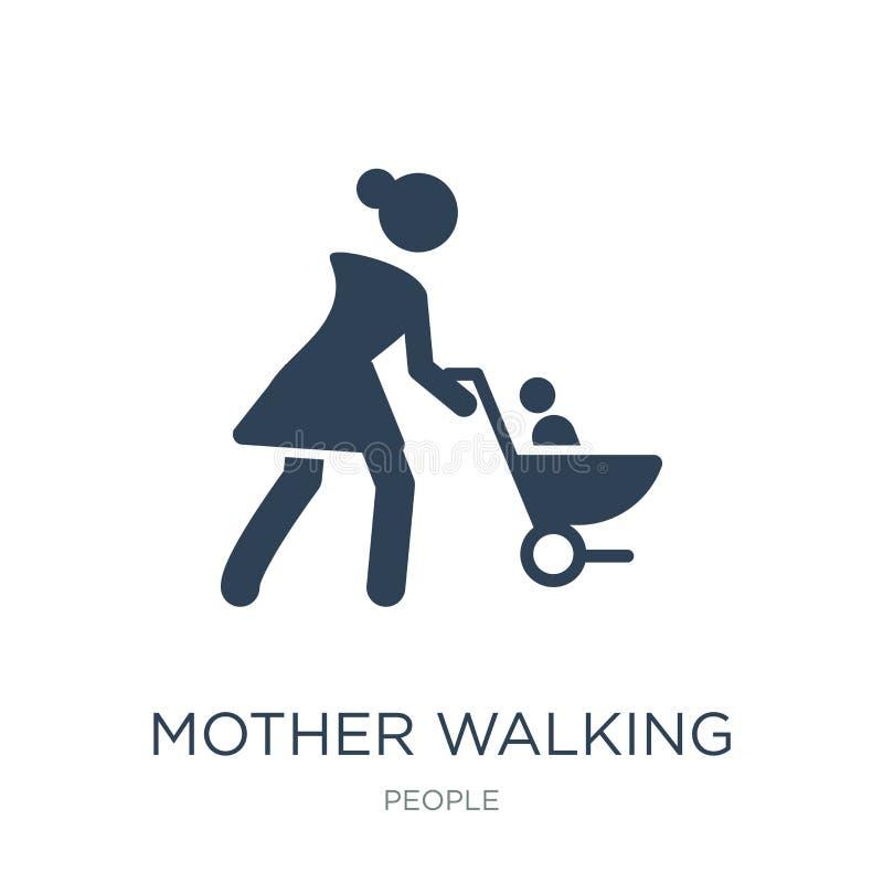 moeder die met het pictogram van de babywandelwagen in in ontwerpstijl lopen moeder die met het pictogram lopen die van de babywa royalty-vrije illustratie