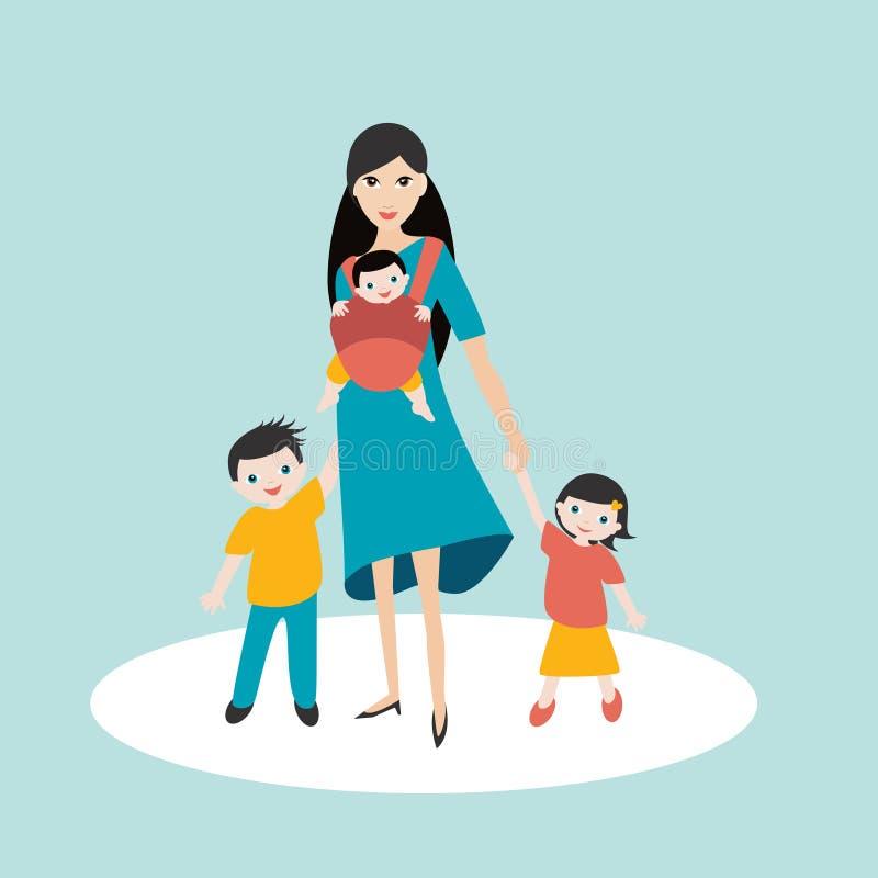 Moeder die met kinderen, zoon en dochter lopen en nieuw - geboren baby in een babydrager, slinger stock illustratie