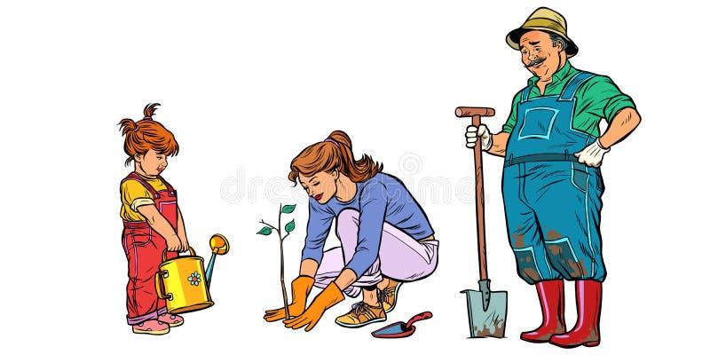 Moeder, dochter en grootvader het werk in de tuin Familieplan stock illustratie