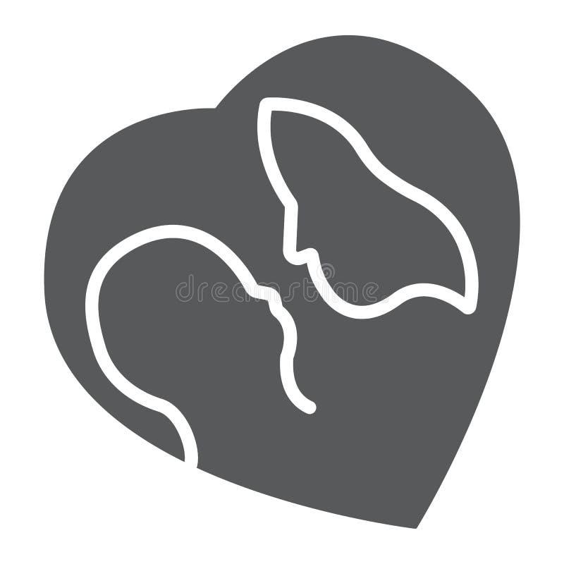 Moeder en baby glyph het pictogram, de liefde en de familie, de vrouw en het kind ondertekenen, vectorafbeeldingen, een stevig pa royalty-vrije illustratie