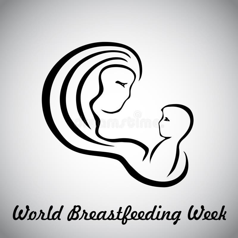 Moeder en baby vectorembleempictogram vector illustratie