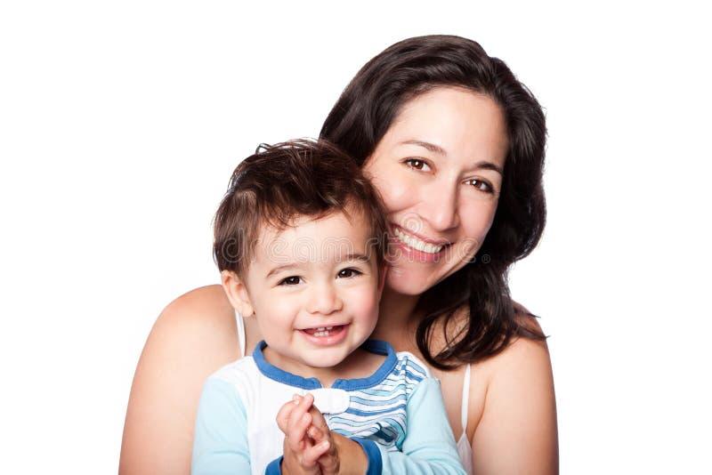 Moeder en babypeuterzoon stock afbeeldingen