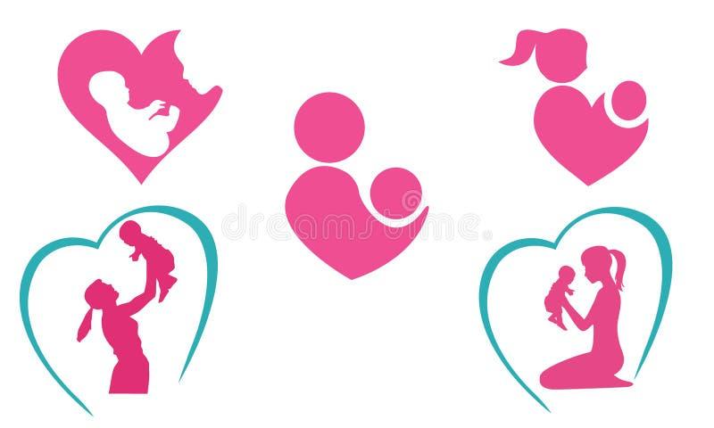 Moeder en babypictogrammen royalty-vrije illustratie