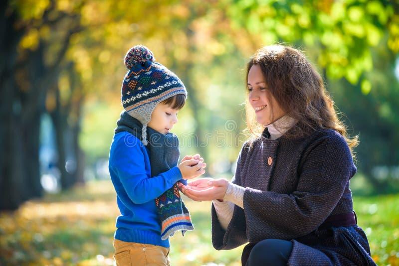 Moeder en babyspel in de herfstpark Ouder en kindgang in Th royalty-vrije stock foto's