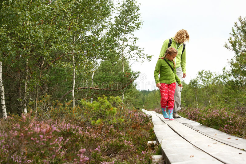 Moeder en daughthter het lopen in bos stock afbeelding