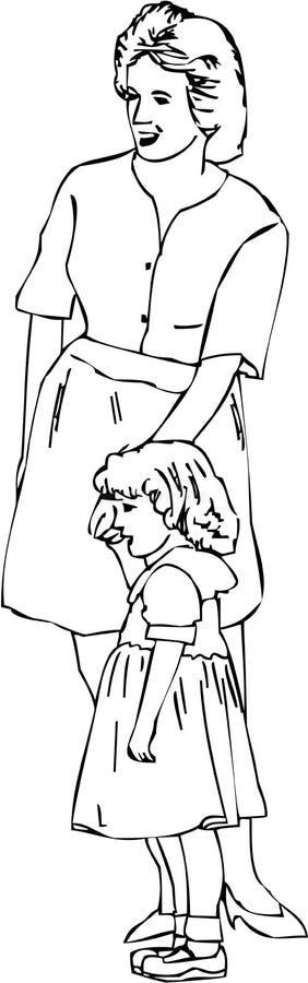 Moeder en Daugther royalty-vrije illustratie