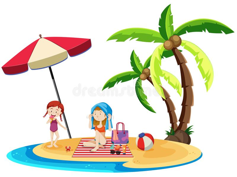 Moeder en Dochter bij het strand stock illustratie