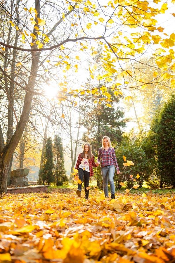 Moeder en dochter die door de bosholdingshanden lopen royalty-vrije stock foto's