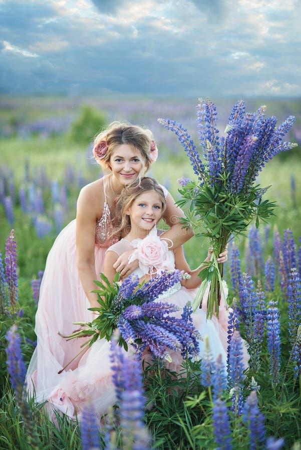 Moeder en dochter die lupinebloemen op mooi gebied op zonsondergang verzamelen Mooi meisje die in violette kleding een lupine hou stock fotografie