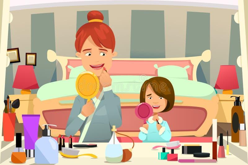 Moeder en dochter die make-up toepassen stock illustratie