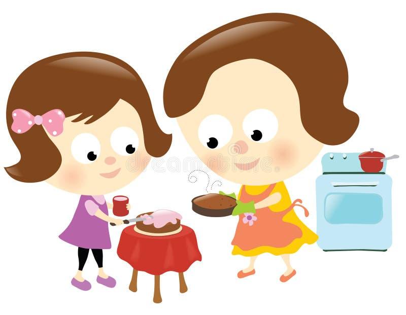 Moeder en dochter die pret hebben royalty-vrije illustratie