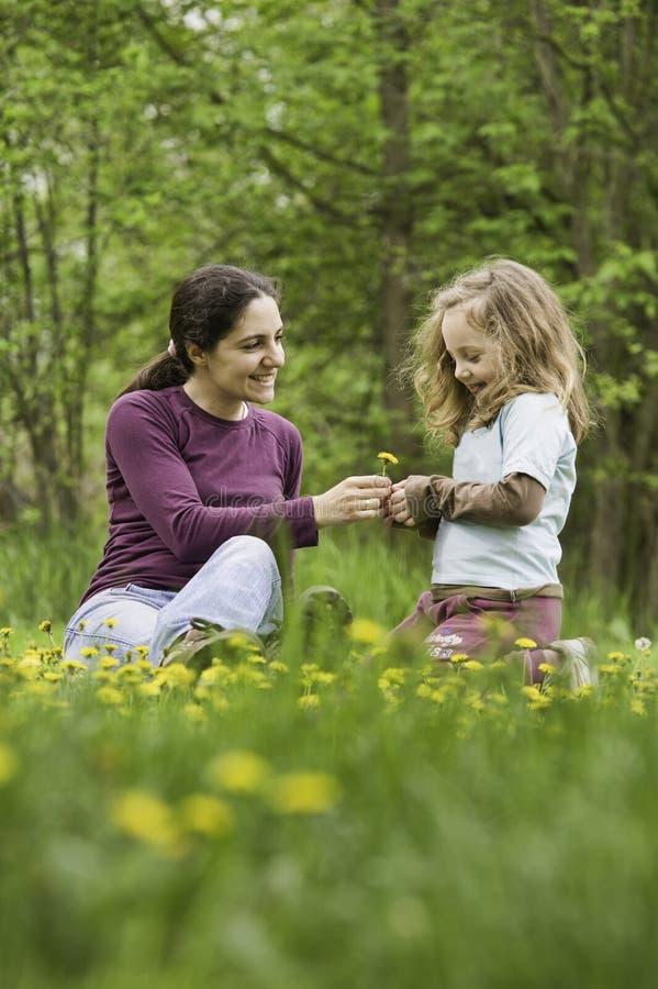 Moeder en dochter in het gras met bloemen stock foto's