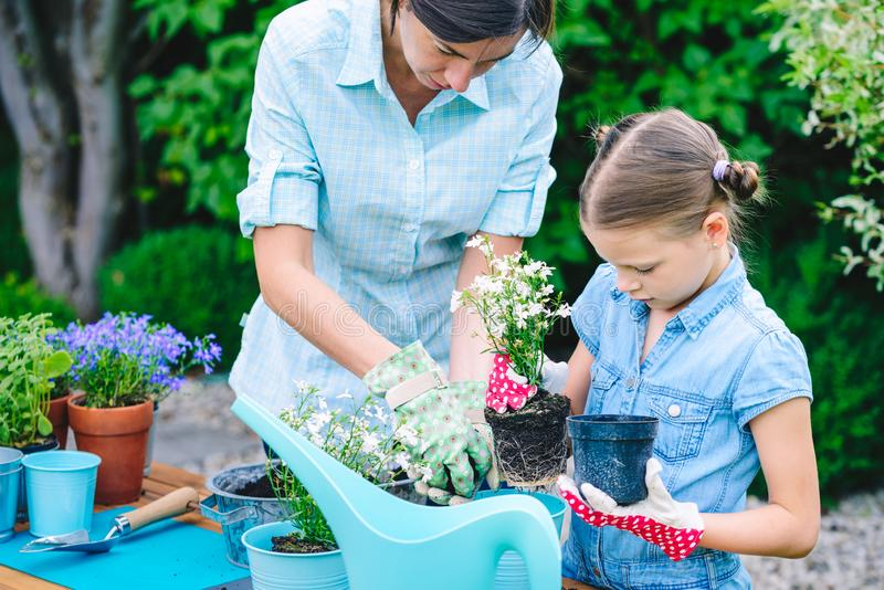 Moeder en dochter het planten bloeit in potten in de tuin - concept het samenwerken, nabijheid stock fotografie