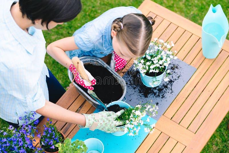 Moeder en dochter het planten bloeit in potten in de tuin - concept het samenwerken, nabijheid royalty-vrije stock foto