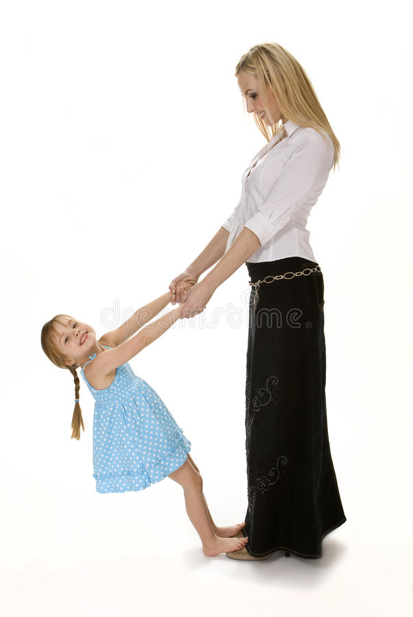 Moeder en Dochter Speels op Wit stock afbeelding