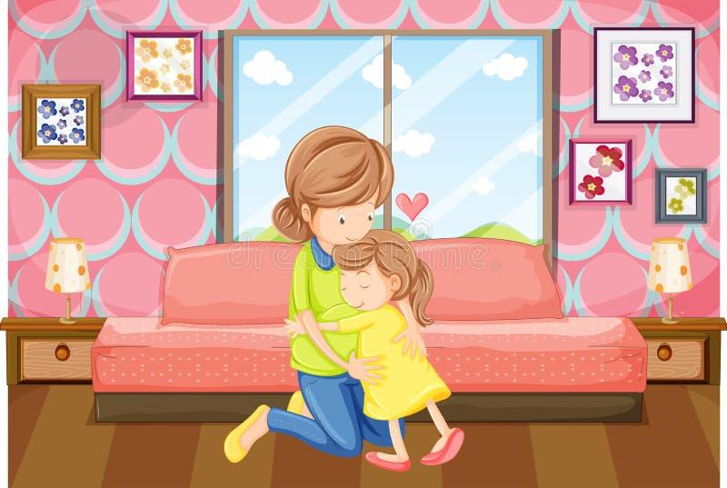 Moeder en dochteromhelzing in slaapkamer vector illustratie