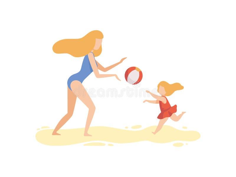 Moeder en Haar Dochter die met Bal op Strand, Gelukkige Familie spelen die de Zomer van Vakantie op Kustvector genieten vector illustratie
