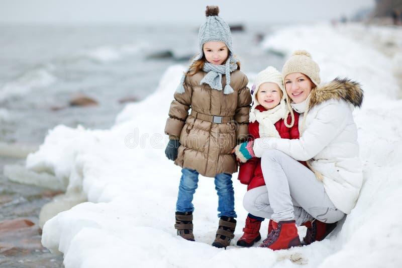 Moeder en haar dochters door het overzees op de winter stock foto