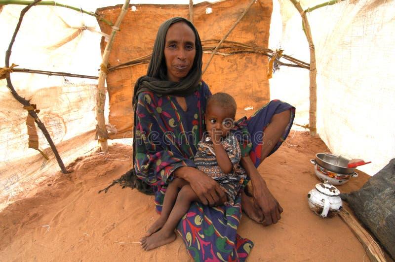 Moeder en Kind in Darfur royalty-vrije stock foto's