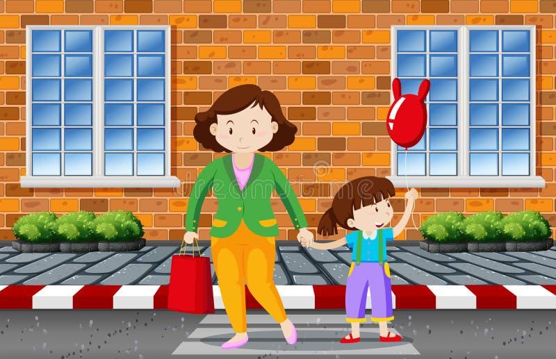 Moeder en kind die de weg kruisen vector illustratie