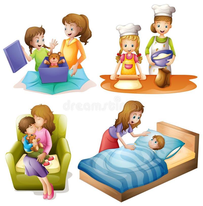 Moeder en kind die verschillende activiteiten doen stock illustratie