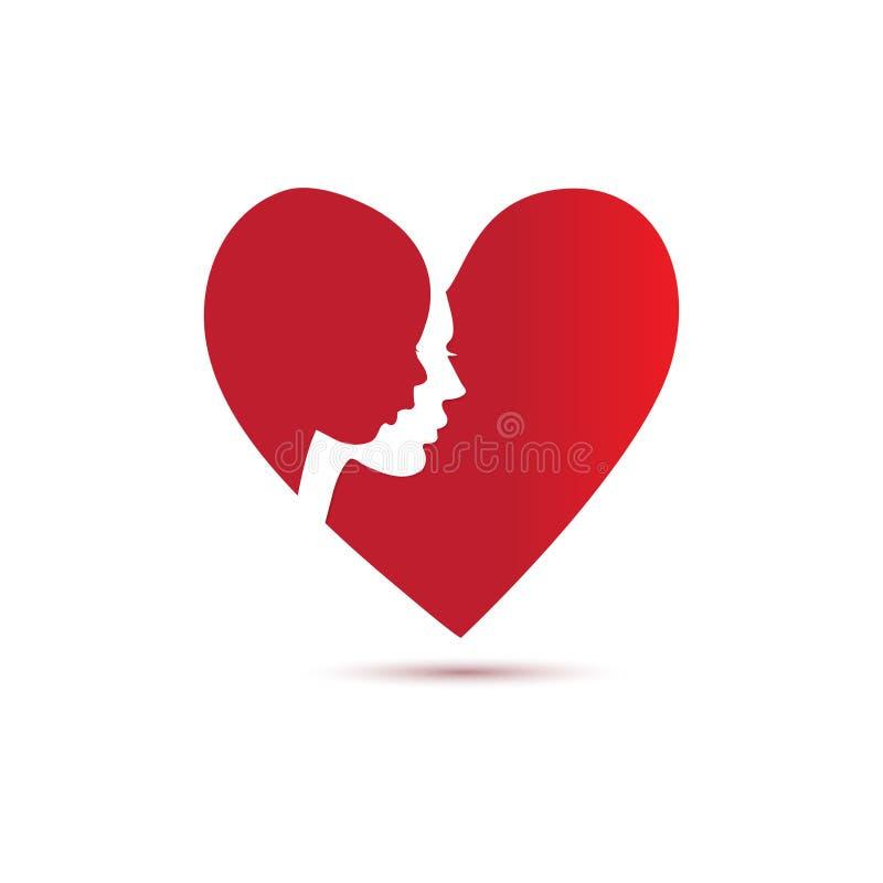 Moeder en kind vectorsilhouet in rood hart royalty-vrije illustratie