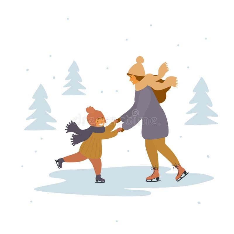Moeder en kindijs die op ijsbaan schaatsen vector illustratie