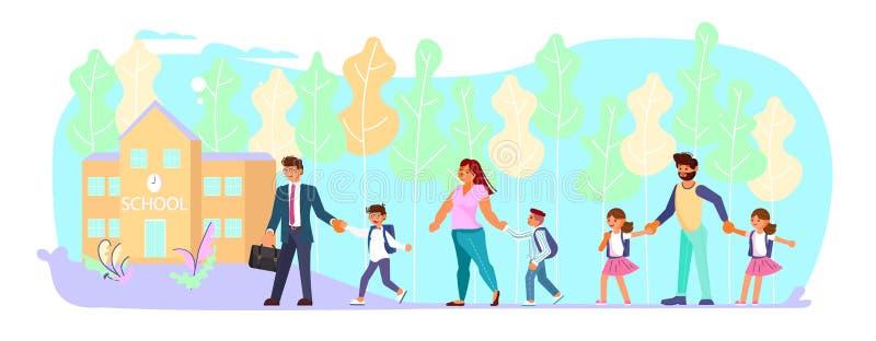 Moeder en vader die hun kinderen leiden tot school vector illustratie