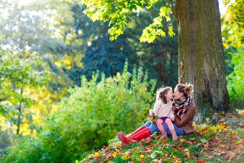 Moeder en weinig dochter bij mooi de herfstbos stock afbeelding