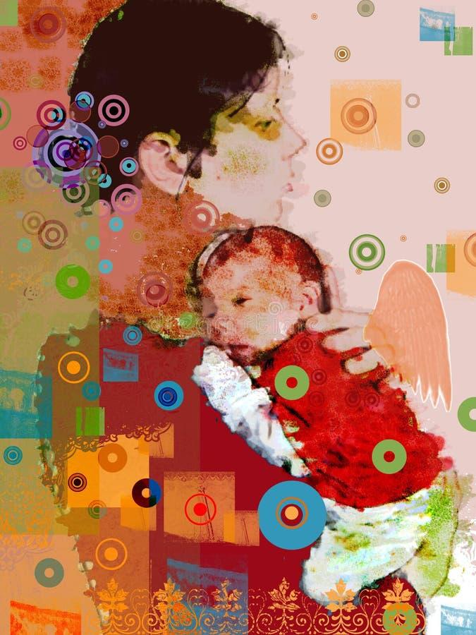 Moeder en zoon royalty-vrije illustratie