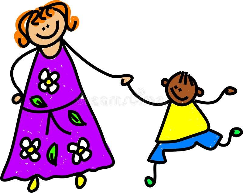 Moeder en zoon stock illustratie