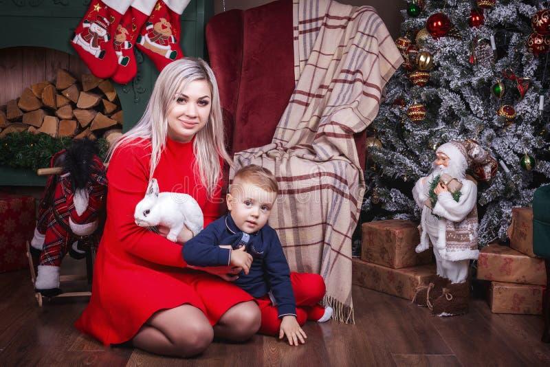Moeder en zoonsholdingskonijntje op Kerstmisachtergrond royalty-vrije stock foto's
