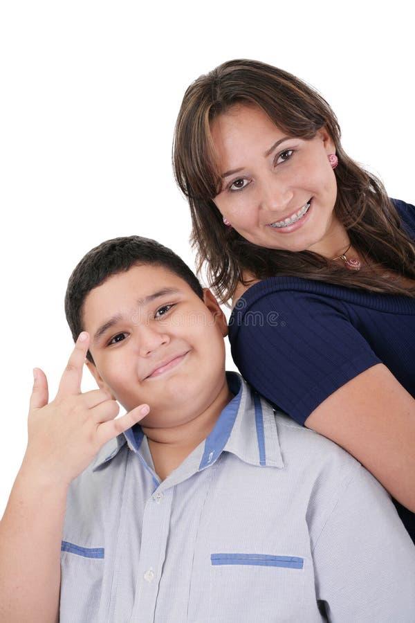 Moeder en zoonsportret royalty-vrije stock fotografie