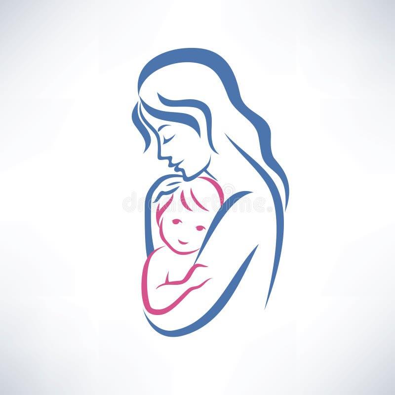 Moeder en zoonssymbool royalty-vrije illustratie