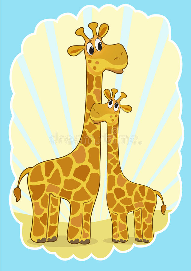 Moeder-giraf en baby-giraf. stock illustratie